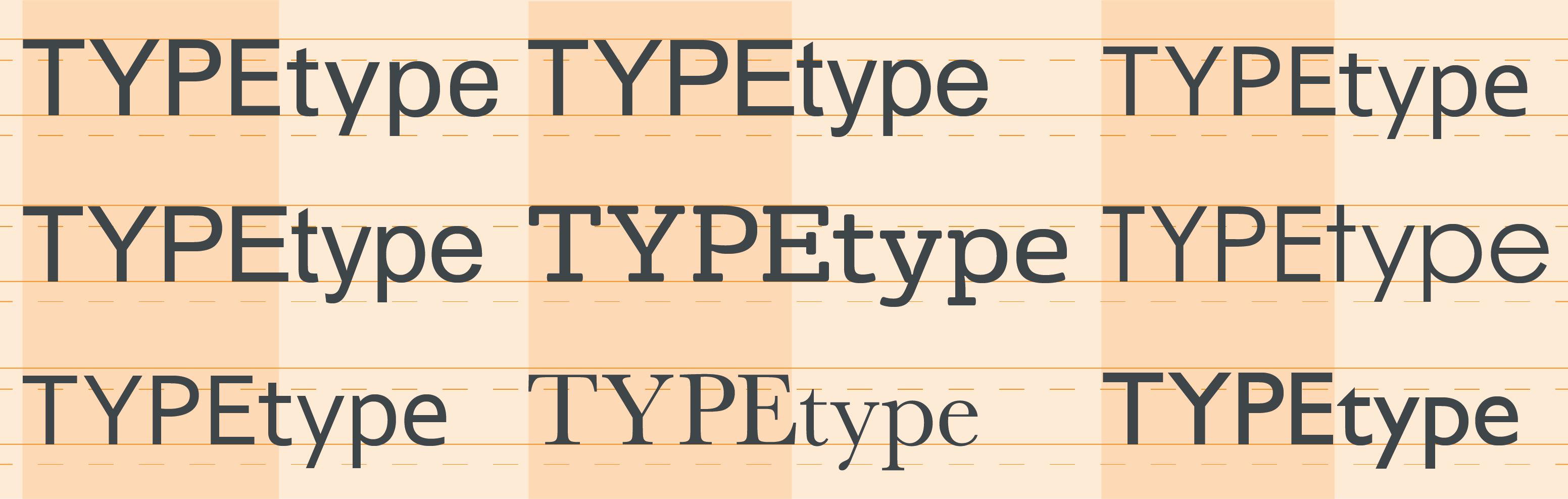 Type size comparison