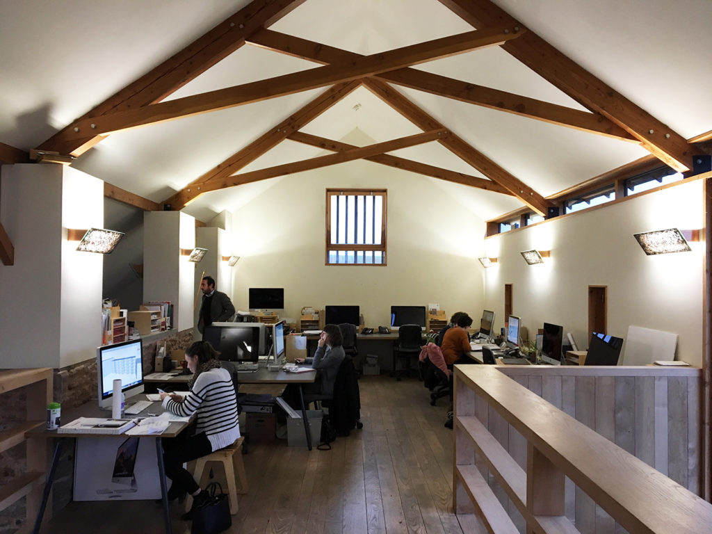 The main office space on the first floor of the barn conversion. Pictures really don't do this place justice – it's light, spacious and highly efficient, with wood sourced locally on the Duchy estate.