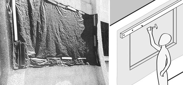 tarpaulin covering window