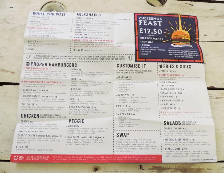 Byron takeaway menus