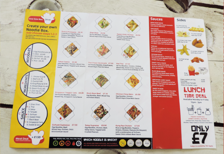 Yo Yo Noddle takeaway menu